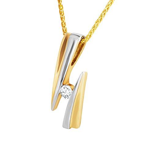 Diamond Line Goldkette mit Diamant-Anhänger Gold mit 1 Diamanten ca. 0.12ct.