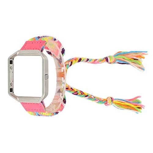 MuSheng kompatibel für Fitbit Blaze Armband - Premium Uhrenarmband Ersatzband mit Verstellbarem Verschluss Ethnischen Stil Leinwand Weben Uhrenarmband Armband mit Rahmen