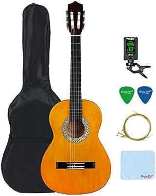 Fuerte Viento estudiante principiante guitarra clásica acústica con cuerdas de nailon Starter Pack