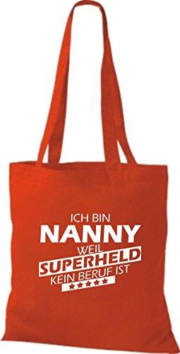 Shirtstown Stoffbeutel Ich bin Nanny, weil Superheld kein Beruf ist rot