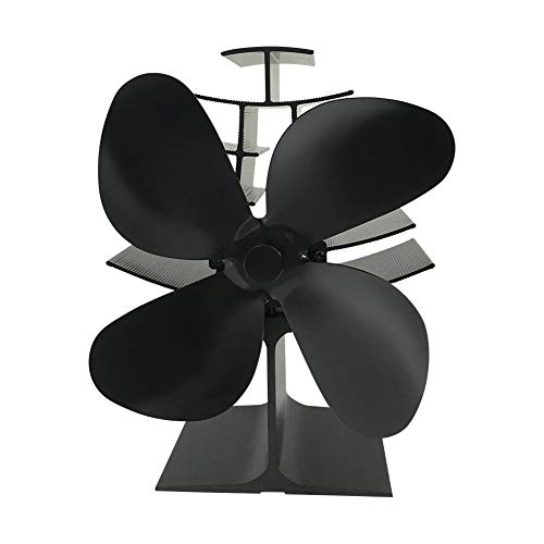4-Blade Heat Powered Stove Fan Wood/Log Burner/Fireplace Increases 80% More Warm air...