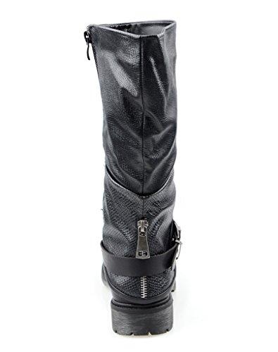 Eyekepper Chaussure fashion femme demoiselle - chaussures bottes mode conception cheville boucle cote fermeture Noir