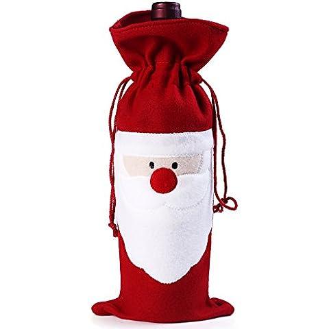 Copertura Della Bottiglia di Vino di Natale, Kwock Carino Vino Rosso Borsa in Cotone Bottiglia per i Rifornimenti Dinner Party Decor Table (Babbo Natale) - Vino Di Natale Etichetta