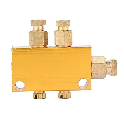Ölverteiler-Ventil Einstellbarer Messing-Wert-Verteilerblock Schmiede-Maschinen Druckguss-Maschinen Holzbearbeitungsmaschinen Mechanische Ausrüstung (1 inlet 2 outlet)