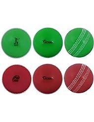 Kosma Coppa del Mondo Inghilterra e Galles 2019 Windball Practice Cricket Ball Palline da Allenamento morbide - Confezione da 6 Pezzi - 3 Pezzi: Rosso con Cucitura Bianca, Verde con Cucitura Bianca