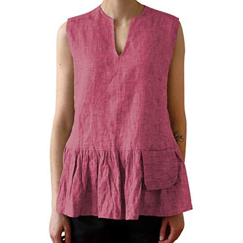 CUTUDE Damen T Shirt, Bluse Kurzarm Sommer Mode Frauen Volltonfarbe V-Ausschnitt Ärmellos Tasche Geraffte Rüschen Saum Casual Tank Top (Rot, XX-Large)