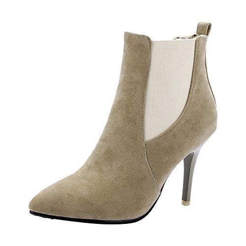 Mee Shoes Damen elegant spitz Nubukleder mit kurzem Flaum Knöchelstiefel Braun