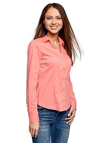 oodji Ultra Damen Taillierte Bluse mit V-Ausschnitt, Rosa, DE 38 / EU 40 / M