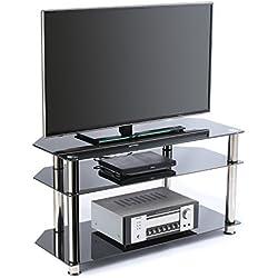 RFIVER Juego de TV de vidrio templado negro para LED, LCD, OLED y televisores de pantalla plana de plasma de hasta 50 pulgadas, vidrio negro y tubo de cromo TS1001