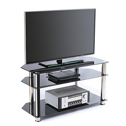 RFIVER Combinaison de support de télévision en verre trempé noir pour téléviseurs à écran plat LED, LCD, OLED et plasma jusqu'à 50 pouces, verre noir et tube chromé TS1001