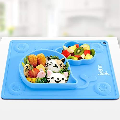 Silikon Baby Saugplatten für Kleinkinder, Kinder, Babys Ernährungsmatte, Tischset, Teller, Saugschüssel für Baby Automatische Entwöhnung 27,5 × 19,7 cm, Bpa Frei, von Super Kitchen (Blau)