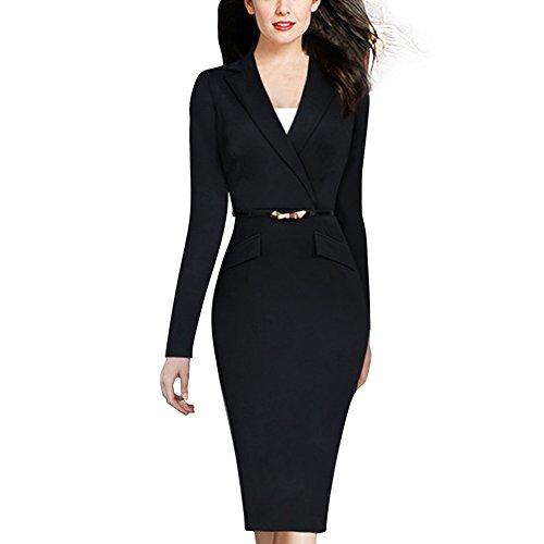 Janecrafts Vintage Suit Collar revers col de la femme ¨¤ manches longues Retour Zip Slim ¨¦quip¨¦e Midi Robe moulante Tenue de soir¨¦e au travail d'affaires Wrap Dress Belted Noir sans boutons