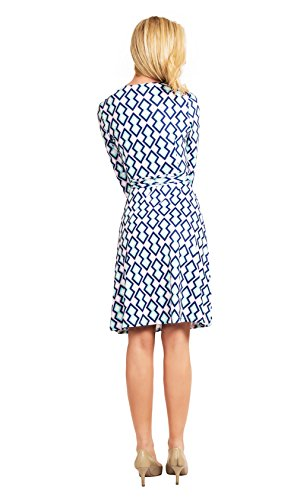 Clasichic V-neckline 3/4 Sleeve Geometric Pattern Printing Faux Wrap A-Line Dress(Blue,S)