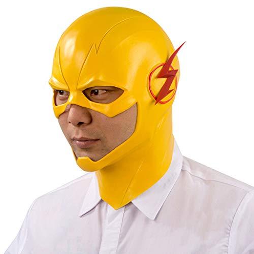 Mask Flashback Lightning Helm Maske Hut gelben Helm Halloween Prom Perücke Künstliche Maske männlich Masken (Color : Yellow, Size : 29CM/11inch) ()