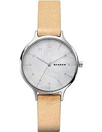 Skagen Damen-Armbanduhr Analog Quarz One Size, perlmutt, beige