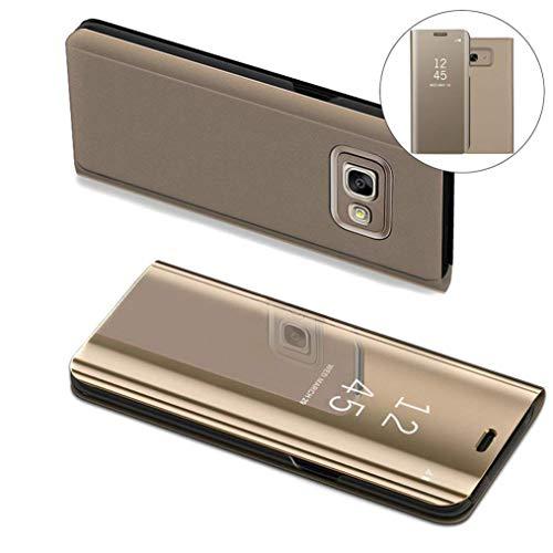 COTDINFOR Samsung J5 Prime Hülle Ledertasche Handyhülle Slim Clear Crystal Spiegel Flip Ständer Etui Hüllen Schutzhüllen für Samsung Galaxy On5 2016 / J5 Prime SM-G570F Mirror PU Gold MX.