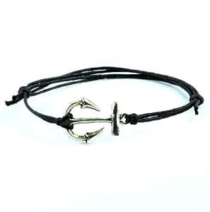 Hippy Antique Silver Anchor Friendship Karma Wish Hope Love Peace Bracelet Cord Boho UK[BLACK]