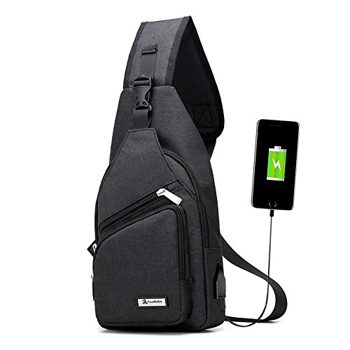 Sling Bag Rucksack OMOUP Sling Crossbag Rucksack Schleuder Tasche Chest Pack mit USB Charge Port für Arbeit Schul Outdoor (Schwarz) (Mit Outdoor-dekorationen Halloween)
