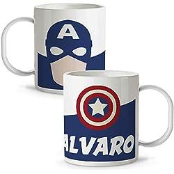 Taza Superhéroes Personalizada con Nombre | Plástico | Vuelta al Cole | Varios Diseños y Colores Interior | Capitán América