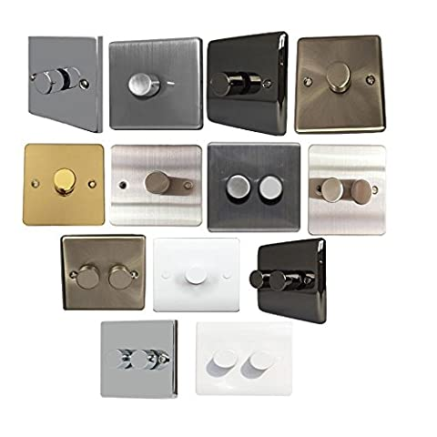 Sinoe 1&2 Gang Push on/off Wall Dimmer Switches Double Pole Electrical White Chrome (VN141 1 Gang Dimmer Single