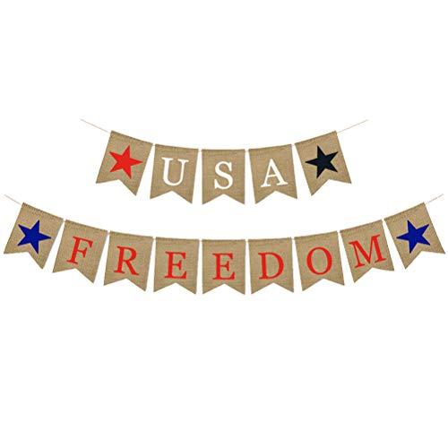Amosfun Amerikanische patriotische Fahnen-Leinwand USA-Freiheit US-Flagge Flagge für amerikanische themenorientierte Partei Juli 4. Dekoration