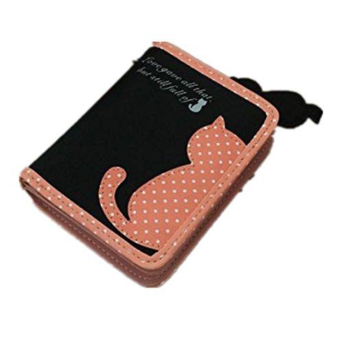 DDLBiz® Frauen-Katze-kurze Brieftasche Taschen PU Handtaschen Card Inhaber Geldbörse (Schwarz) (Schwarze Katze Geldbörse)