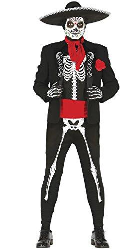 Guirca–Kostüm Erwachsene Skeleton Mexikanisch, Größe ()