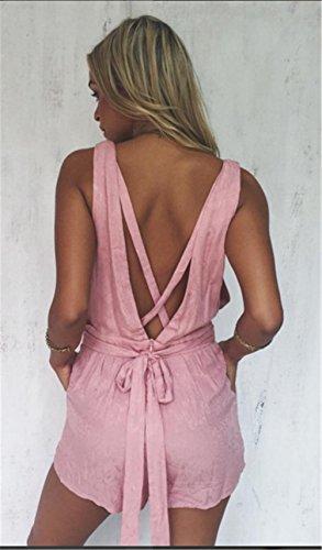 Femmes Sexy Deep V-cou sans manches Backless Tunique laçage Clubwear Playsuit Rose