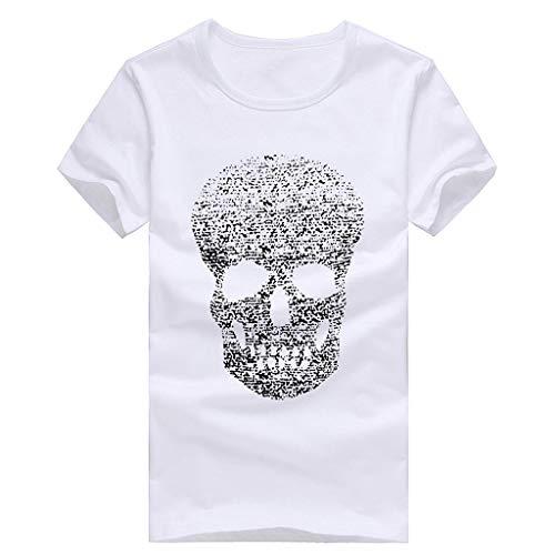 Druck-T-Shirts der Männer, Lässige Skull Fashion Shirt Kurzarm T-Shirt Top Bluse Tees Zolimx -