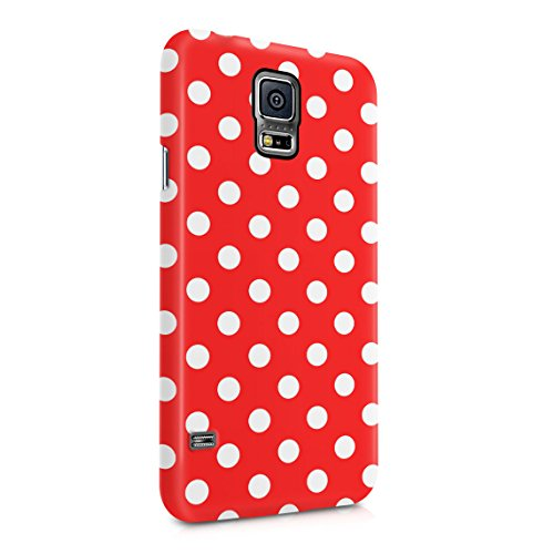 Crimson Red Polka Dots Pattern Dünne Rückschale aus Hartplastik für Samsung Galaxy S5 Mini Handy Hülle Schutzhülle Slim Fit Case Cover Hearts Hard Case, Snap