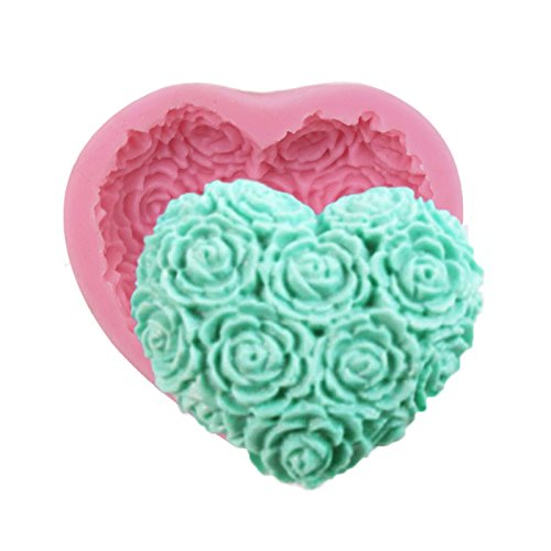 Asian Hobby Crafts Silicone Resin Gumpaste Fondant Clay Marzipan Cake Mould: Design : Rose Heart