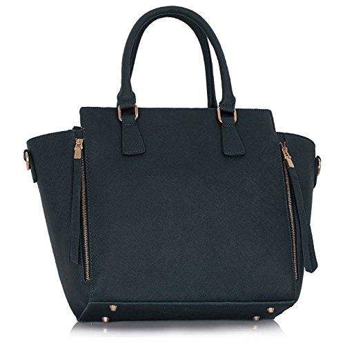 Meine Damen Umhängetaschen Frauen Große Designer Handtaschentoteschulterkunstleder Modische Taschen (A - Schwarz) Marine1