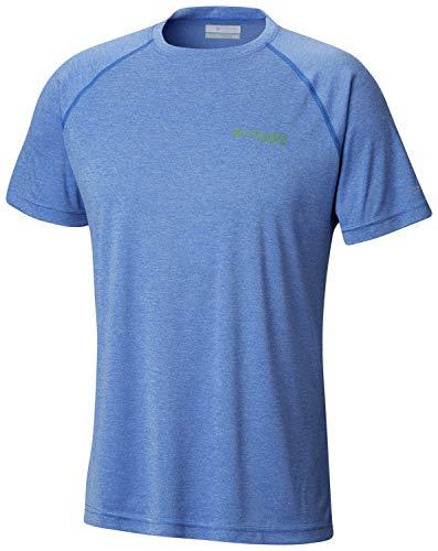 Columbia Men's Terminal TackleTM Heather Short Sleeve Shirt, Vivid Blue Heather, Clean Green Logo, Medium - Blue Green Heather