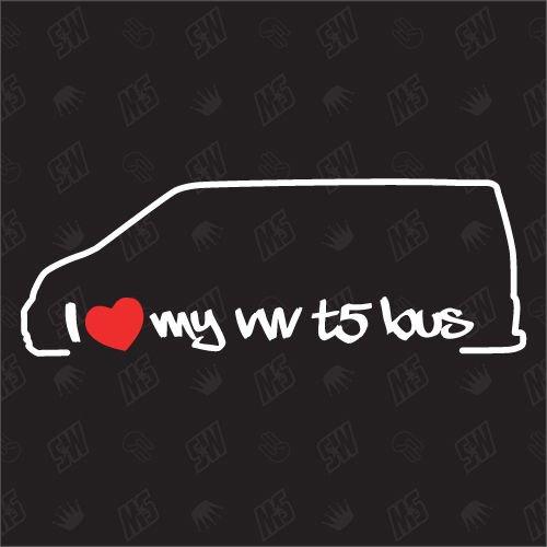 speedwerk-motorwear I Love My T5 Bus - Sticker für VW - ab Bj. 2003