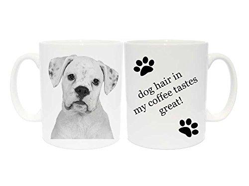 Boxer Keramik Tasse Geschenk mit 6verschiedenen Beschriftungen (weiß), keramik, dog hair in my coffee taste great! (Meine Einzige Tasse Kaffee)
