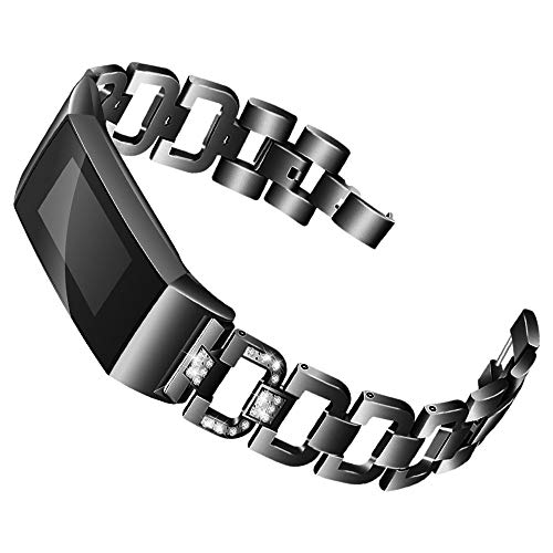 Preisvergleich Produktbild bescita Mode Elegant Damen Metall Armband,  Schmuck Ersatz Watch Band Jewelry Metallarmband mit Schmuck Ersatzband kompatibel mit Fitbit Charge 3 (Schwarz)