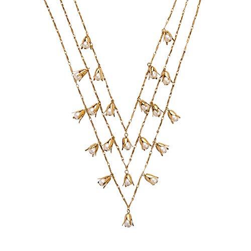 XMDNYE Nachahmung Perlen Charm Halskette Online Shopping Schmuck Layered Halskette