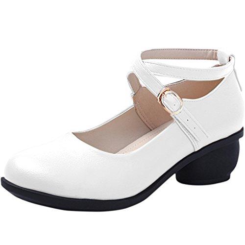 Oasap Femme Chaussure Couleur Pure Talons Bas À Boucle Danser white
