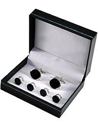 Manschettenknöpfe und Frackknöpfe / Geschenkset, LINDENMANN, onyx, silberfarben, 990011