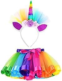 K-youth Falda de Tutú Arcoiris para Niña Falda de Tutú de Baile de Fiesta con Adorno de Flor de Flor de Unicornio 2018