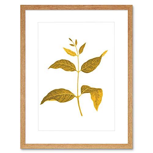 Wee Blue Coo LTD Botanics Gold and Grey Leaves Art Print Light Oak Framed Poster Wall Decor 12x16 inch Licht Wand Deko - Gold Leaf 12 Licht