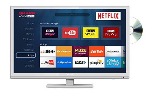 Sharp LC-24DHG6001KW 24-Inch HD Ready Smart LED TV with Freeview HD, Built-In DVD Player, 2 x HDMI, Scart, USB Record -White