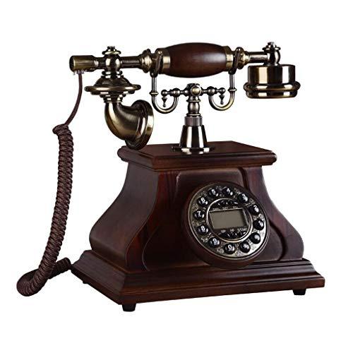 Retro Telefon FJH Kaffee Massivholz Metallknopf Zifferblatt Garten Mode Kreativen Sitz Europäischen Home Office 24 cm * 27,5 cm * 25 cm -
