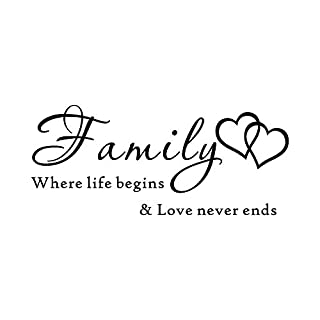 12shage Clearance!!! Wall Stickers DIY Family Where Life Begins & Love Never End PVC Wall Sticker Art Decal Room Home Decor for Kitchen Bathroom Bedroom Living Room Modern Home Decor