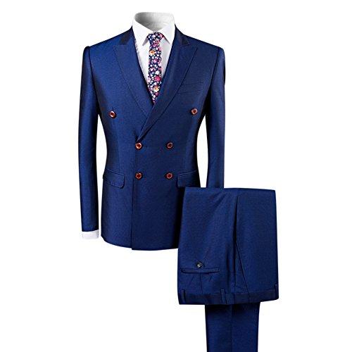 Boyland Herren Doppelreiher Anzug Slim Fit 3-teilig Peak Revers Elegant Vintage Anzug Set - Schwarz - M - Peak Revers Weste