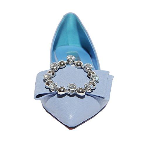 ENMAYER Chaussures en cuir décontracté pour femmes Chaussures à talons pointu pour femmes Chaussures carrées Chaussures décontractées rasées et automnales Bleu(2cm)