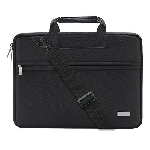 MOSISO Laptop Umhängetasche Kompatibel 2018 MacBook Air 13 A1932, MacBook Pro 13 Zoll 2018 2017 2016 A1989/A1706/A1708, Surface Pro 6/5/4/3, Polyester Tasche mit Rückengurt Trolly Case, Schwarz
