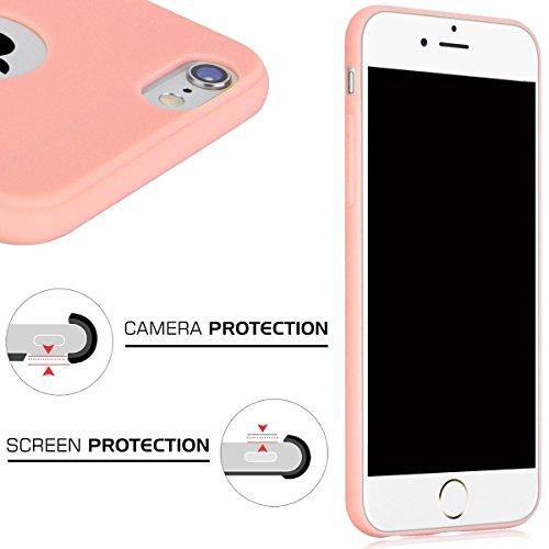 Cover iPhone 6 Plus (5.5),ToDo iPhone 6S Plus Custodia Silicone Ultra Morbido Satinate Opaco Ultra Sottile TPU Flessibile Gomma Cassa Protettiva Gel [Anti-scivolo] [Anti-Graffio] [Antiurto] Leggero C Caramella Rosa
