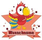 Samunshi® Lustiger Papagei Aufkleber mit Namen Autoaufkleber Namensaufkleber Kinder in 7 Größen (25x22cm Mehrfarbig)