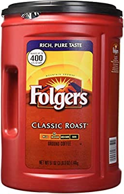 Folgers Classic Roast Medium Ground Coffee 1.44kg Tub Makes up to 400 6 fl oz Cups from FOLGERS